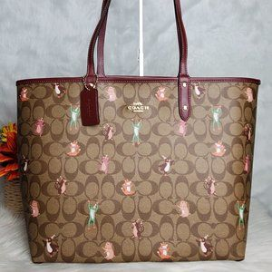 COACH REVERSIBLE CITY TOTE WITH ANIMAL PRINTS